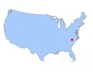 US map outline with red dot for BAISCA